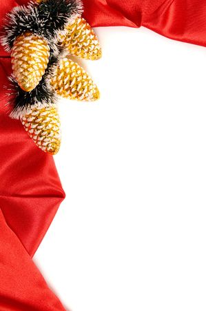 Red decorative christmas frame on white background photo