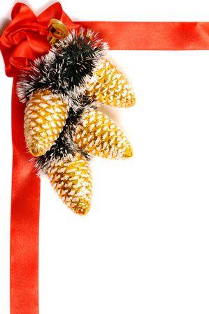 Red cadre décoratif de Noël sur fond blanc