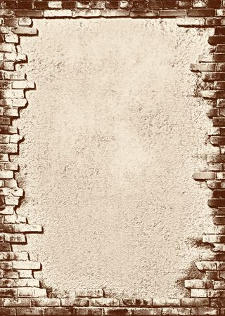 Plaster background with brick wall framing Vintage stylized photo