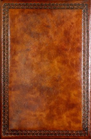 book cover design: Brown leather book cover with decorative pattern