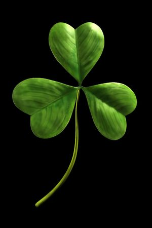 leaved: Trefoil 3D Illustration of three leaved clover leaf isolated on black background Stock Photo