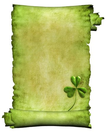 three leaved: Manuscript, roll of parchment with flowers paper background isolated on black Stock Photo