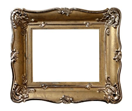 Old vintage metal photo frame isolated with clipping path on white background
