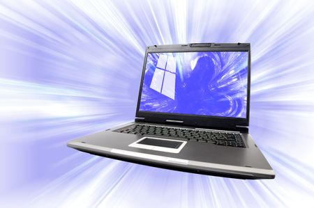 isp: Artistic conceptual photo-illustration of a laptop computer isolated with clipping path over blue abstract background Technology, internet and computers concept