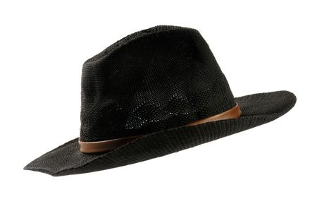 Black mens cowboy hat isolated silhouette over white background photo