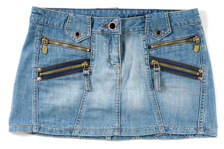 mini falda: Mini falda femenina atractiva azul aislada en el fondo blanco
