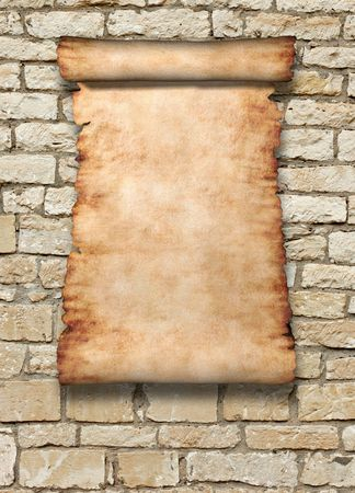 rockwall: Vintage roll of parchment on ancient stone wall vertical background Stock Photo