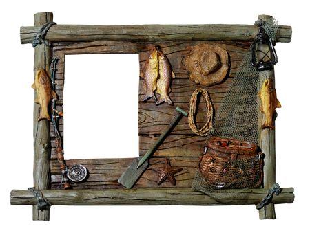 redes de pesca: Decorativos de madera foto art�stica marco Pesca tema silueta aislados sobre fondo blanco con un recorte camino Foto de archivo