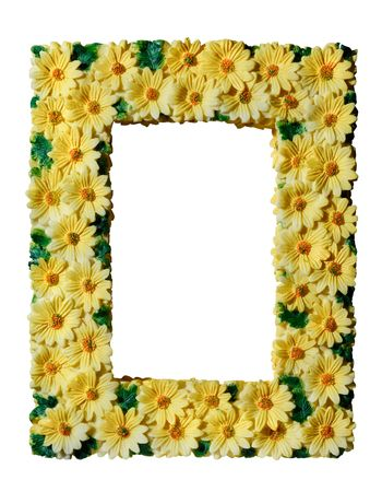 Romantic vertical square photo frame decorated with bright yellow flowers Isolated with clipping path on white background vertical photo