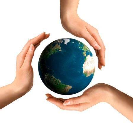 environmental protection: Conceptual recycling symbol made from hands over Earth globe Environment and ecology concept Stock Photo