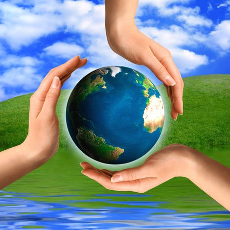 Conceptual recycling symbol made from hands and a small Earth globe Environment and ecology concept Stock Photo - 2010557