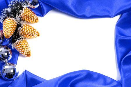 Blue decorative christmas frame on white background