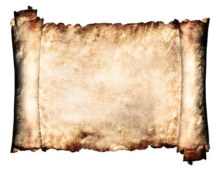 ripped: Manuscript horizontal burnt rough roll of parchment paper texture background Stock Photo