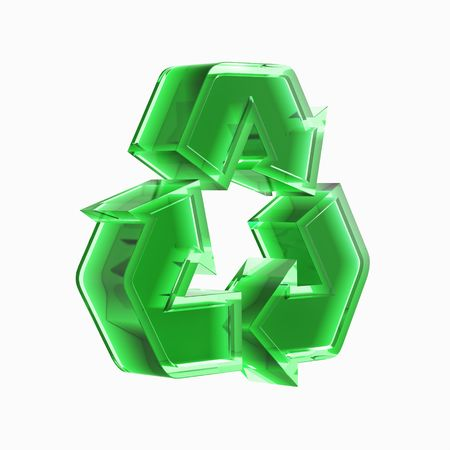 Green translucent recycling sign 3D illustration isolated on white background Stock Illustration - 6543737