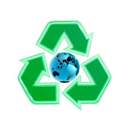 Green translucent recycling symbol with the Earth globe in the centre. 3D illustration isolated on white background. Stock Illustration - 6543741