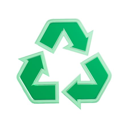 recycling: Green translucent recycling sign 3D illustration isolated on white background Stock Photo