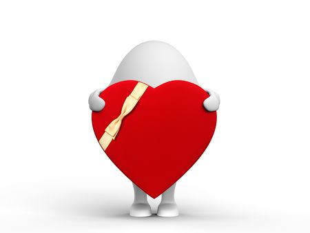 3D illustration of a cute 3D character holding a red valentine. Isolated on white background. Stock Illustration - 6543647