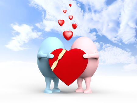 3D illustration of a cute couple of egghead characters in love holding a red valentine illustration