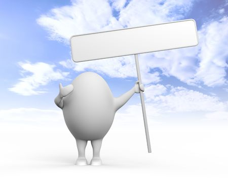 3D illustration of a cartoon egghead character holding a blank sign under blue sky illustration