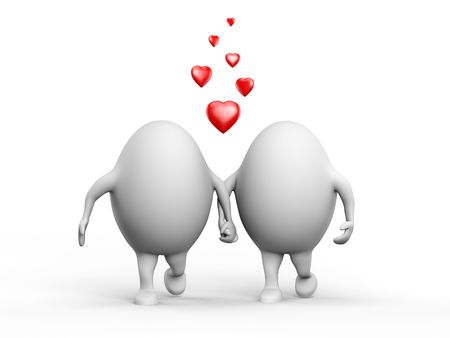 3D illustration of a cute couple of egghead characters in love holding hands. Isolated on white background. Stock Illustration - 6543643