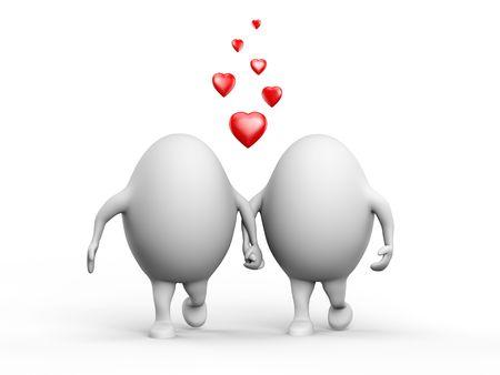 egghead: Illustrazione 3D di un paio di cute di egghead caratteri in amore holding hands. Isolato su sfondo bianco.
