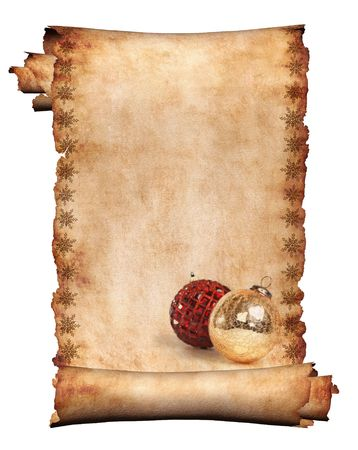 Decorated with Christmas ornament roll of parchment isolated on white background