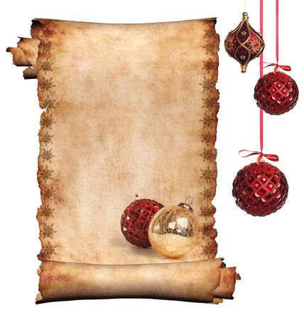 edges: Decorated with Christmas ornament roll of parchment isolated on white background