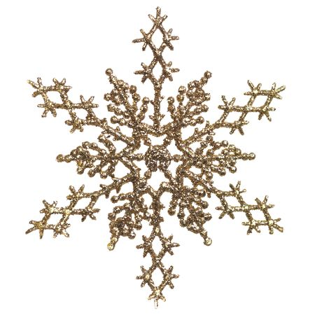 Shiny golden snowflake ornament Christmas tree decoration isolated on white background Reklamní fotografie