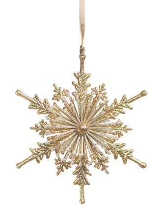 decoration: Shiny golden snowflake ornament Christmas tree decoration isolated on white background Stock Photo