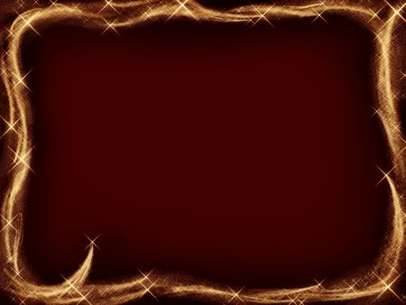 simple frame: Sparkling Christmas frame with golden shooting stars on dark red background Stock Photo