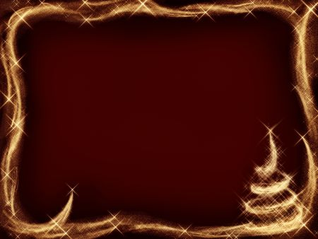 christmas tide: Sparkling Christmas frame and a Christmas tree with golden shooting stars on dark red background