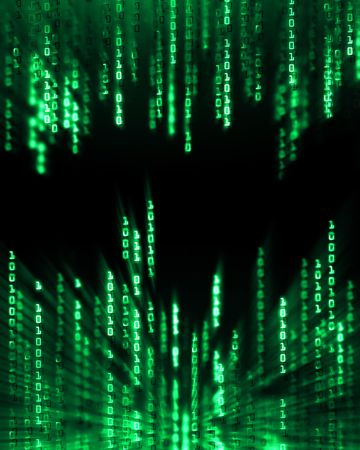 Glowing binary code data digits flowing on computer display Stock Photo - 6543821