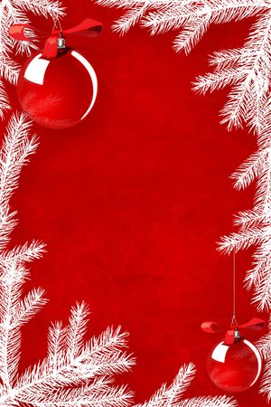 simple: Red Christmas background framed with white coniferous tree branches Stock Photo