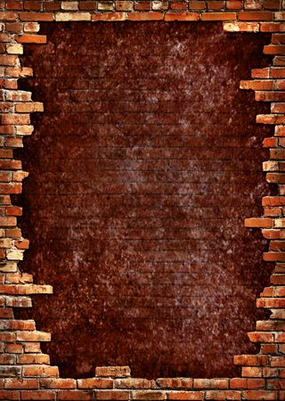 Grunge dark red concrete wall in a brick frame conceptual background texture photo