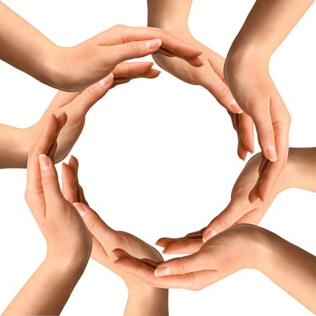 Conceptual symbol of human hands making a circle on white background with a copy space at the centre Stock Photo - 6543816