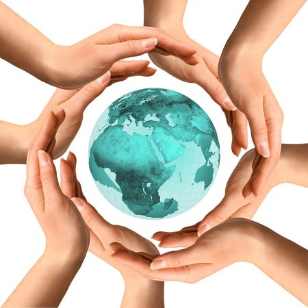 surrounded: Conceptual symbol of the planet Earth surrounded by human hands. Environment and ecology concept.