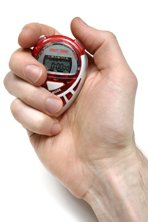 Sport Timer Stop watch in a hand Isolated on white background Stock Photo - 6543897