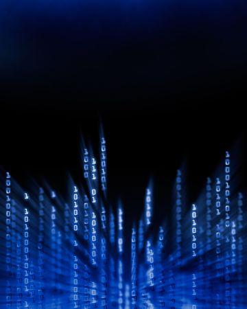 glitch: Cifre di dati codice binario incandescente che scorre sullo schermo del computer