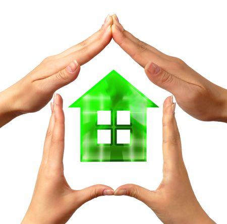 synergy: S�mbolo de casa conceptual hecha por manos
