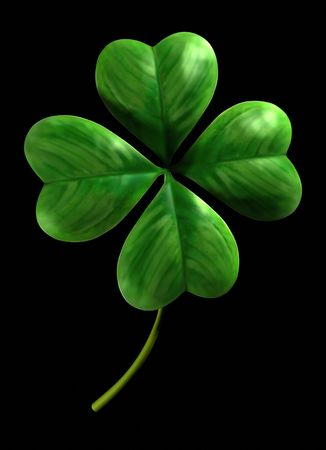 four objects: Four leafed shamrock Symbol of luck and Saint Patrick Day holiday Isolated on black background