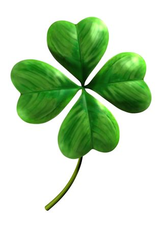 four objects: Four leafed shamrock Symbol of luck and Saint Patrick Day holiday Isolated on white background Stock Photo