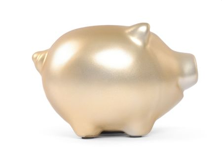 Gold piggy bank isolated on white background photo