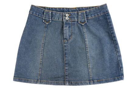 mini falda: Mini falda de mezclilla azul aislado sobre fondo blanco Foto de archivo