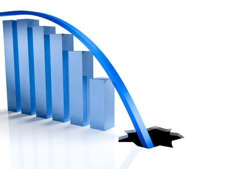 slump: Chart going through the floor. Economic crisis concept.