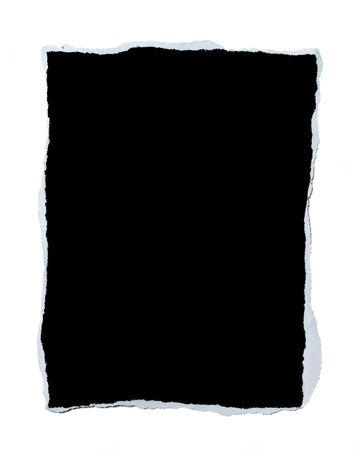torn edges: Black blank piece of paper with torn edges isolated on white background
