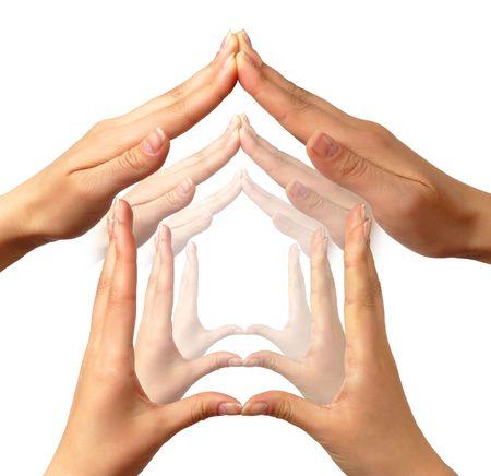 logo batiment: Plusieurs symboles maison faites par le concept de mains humaines  Banque d'images