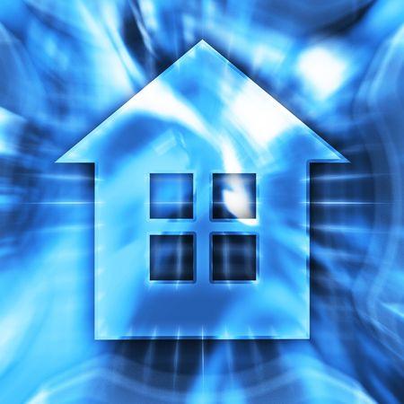 homes: Blue home symbol conceptual illustration