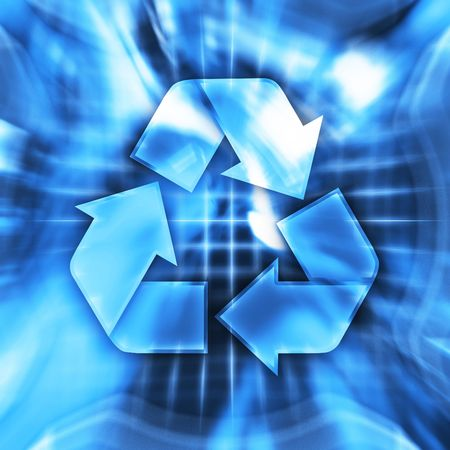 Blue recycling symbol conceptual illustration illustration