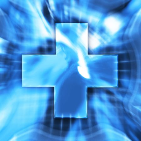 Blue cross symbol conceptual illustration illustration