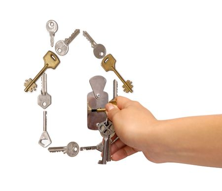 Conceptual house symbol made from keys photo